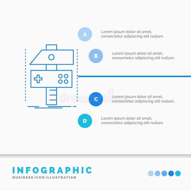 Построьте, произведите, превратитесь, разработчик, шаблон Infographics игры для вебсайта и представление Линия вектор стиля голуб бесплатная иллюстрация