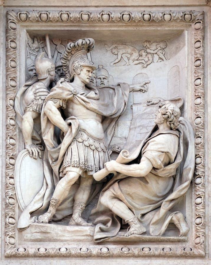 Поступок Agrippa для того чтобы одобрить конструкцию мост-водовода Virgo Aqua на фонтане Trevi в Риме стоковая фотография rf
