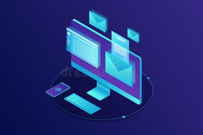Посылающ уведомлению равновеликую концепцию по электронной почте Маркетинг электронной почты иллюстрация вектора