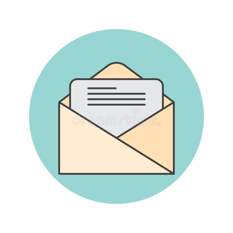 Посылайте тонкую линию по электронной почте значок, письмо заполненное illustra логотипа вектора плана иллюстрация вектора
