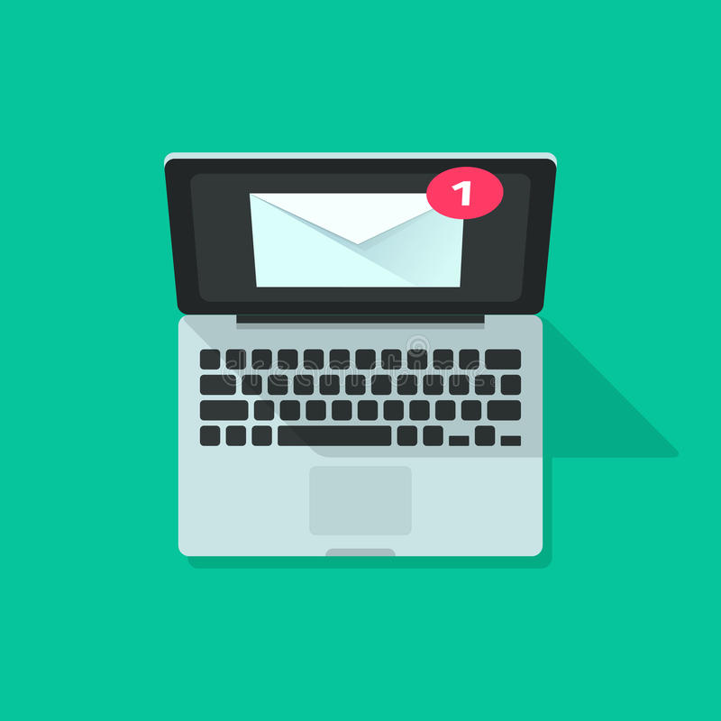 Посылайте уведомление по электронной почте на векторе компьтер-книжки, концепции сообщения электронной почты иллюстрация вектора