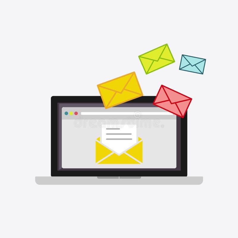 Посылающ или получающ электронную почту Читать новые сообщения Иллюстрация электронной почты Маркетинг электронной почты бесплатная иллюстрация