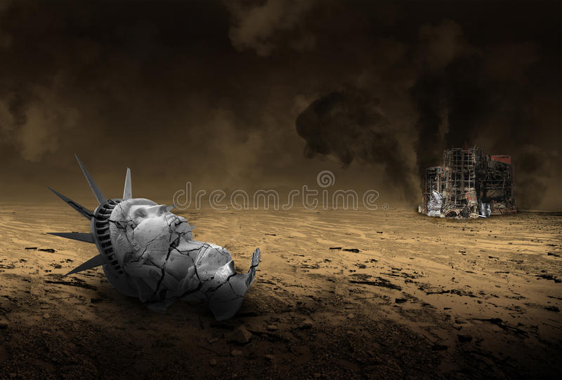 Послевоенным город взорванный апокалипсисом стоковое изображение rf