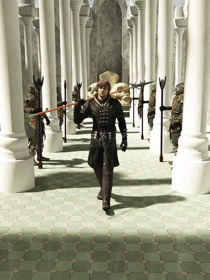 Spearman средневековых или фантазии гуляя через Throneroom иллюстрация вектора
