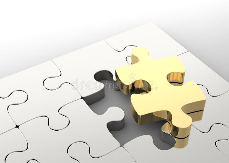 Последняя золотая часть головоломки для того чтобы завершить зигзаг Концепция решения дела иллюстрация штока