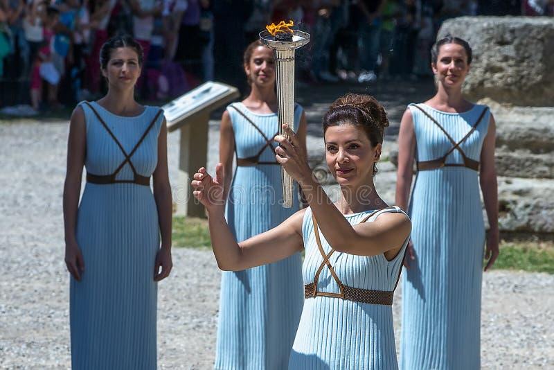 Последняя репетиция церемонии освещения пламени для стоковые изображения