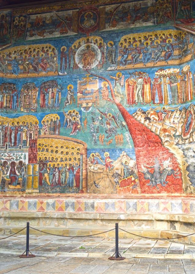 Последняя сцена суждения, фреска настенной росписи стоковая фотография rf