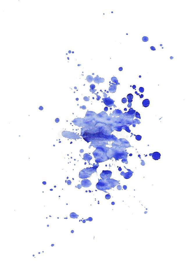 Потеки пятна яркой акварели голубые Абстрактная иллюстрация на белой предпосылке Знамя для текста, элемента grunge для украшения иллюстрация штока