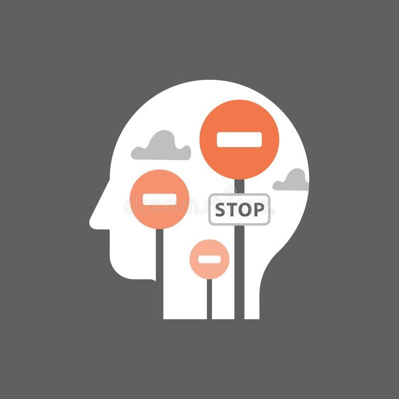 Потенциальное развитие, склад ума, умственный блок, психология и психиатрия, косая концепция, положительный думать, ограниченная  иллюстрация штока