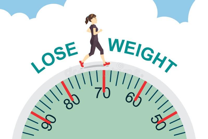 Потеряйте вес с jogging иллюстрация вектора