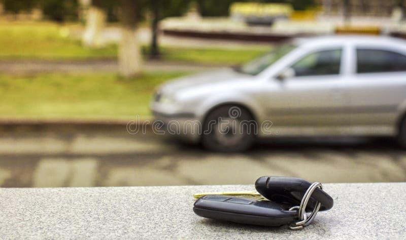 Потерянные ключи автомобиля на упаденных иглах голубого спруса заднее bokeh предпосылки нерезкости стоковое фото rf