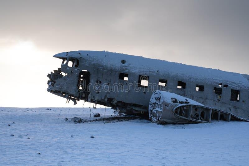 Потерянные места, разбили самолет близко к Vik на Исландии стоковые фото