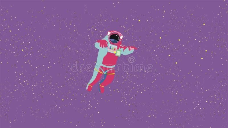 потерянный в космическом пространстве астронавт Звезды на пурпурной предпосылке, яркие абстрактные цвета иллюстрация вектора