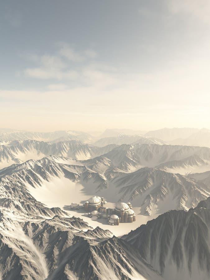 Потерянный город в снеге иллюстрация вектора