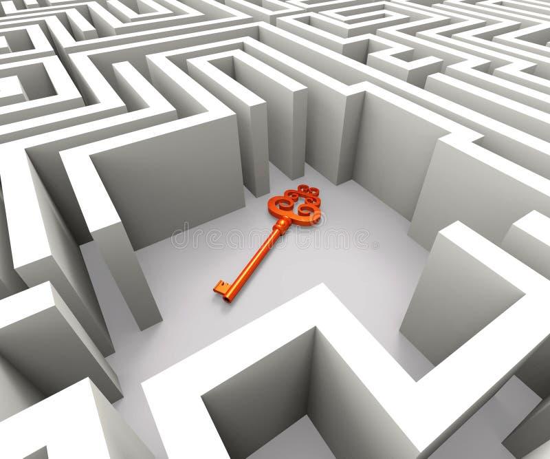 Потерянный ключ в лабиринте показывает решение безопасностью стоковое изображение