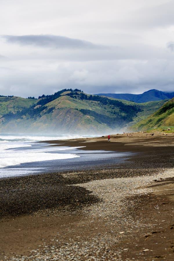 Потерянный пейзаж побережья восхитительно показывает океаны, пляж, холмы и горы Калифорнии стоковые фотографии rf