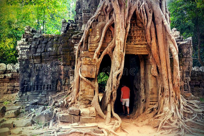 Потерянный старый город кхмера в джунглях стоковое изображение rf