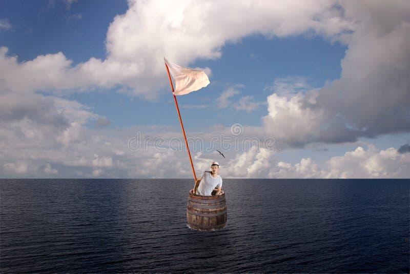 Потерянный человек в бочонке на море стоковое изображение