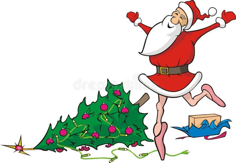 Потеряно в танцевать Santa Claus - сокрушенное рождество иллюстрация вектора