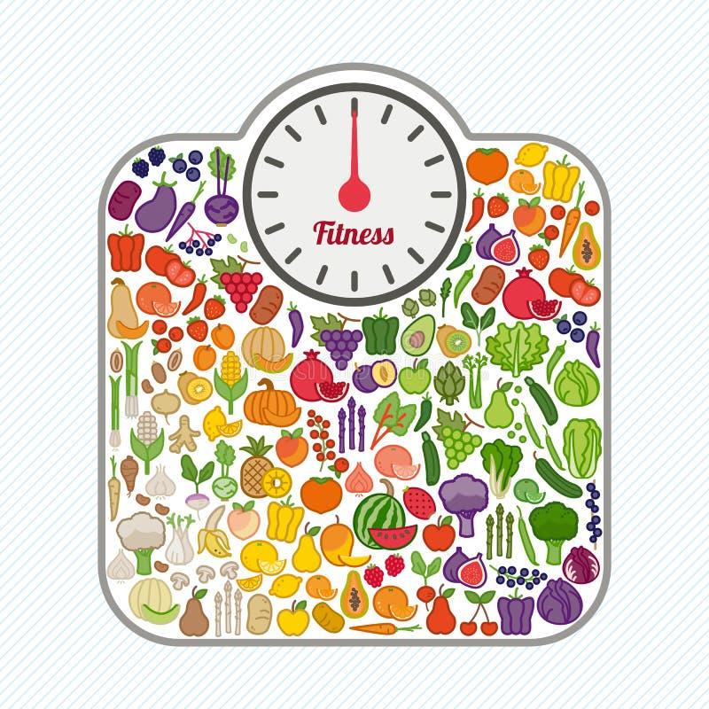 Потеря веса и здоровая концепция еды иллюстрация штока