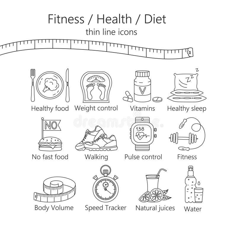 Потеря веса, установленные значки диеты бесплатная иллюстрация