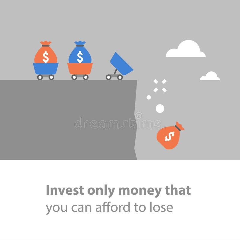 Потеря денег, мера предосторожности вклада, оценка степени риска, финансовая задолженность, плохое руководство фондом, рисковый к иллюстрация вектора