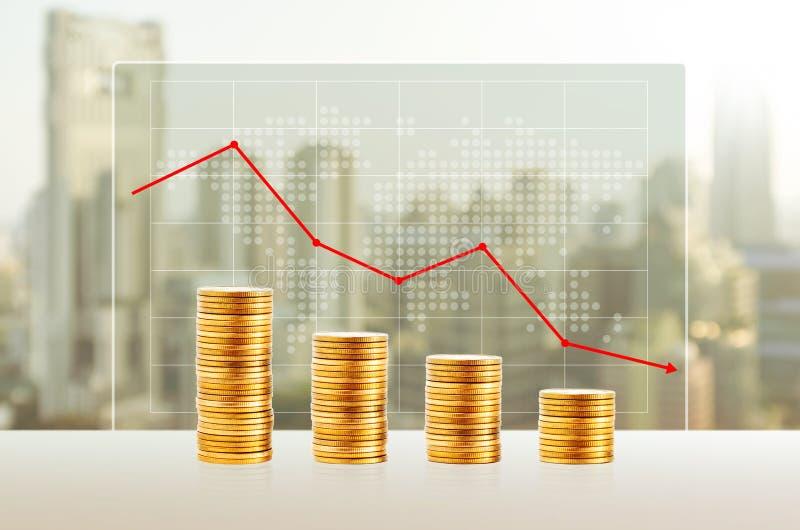 Потеря денег, концепция дела Стога золотой монетки Финансы вниз стоковое изображение rf