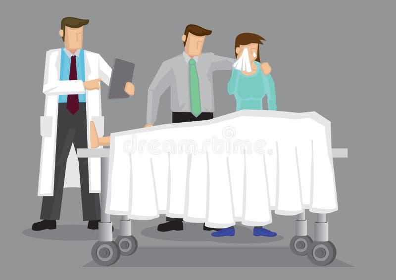 Потеря и печаль в установке больницы иллюстрация вектора