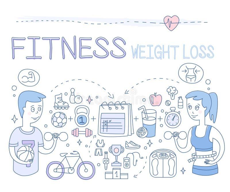 Потеря фитнеса и веса также вектор иллюстрации притяжки corel иллюстрация штока