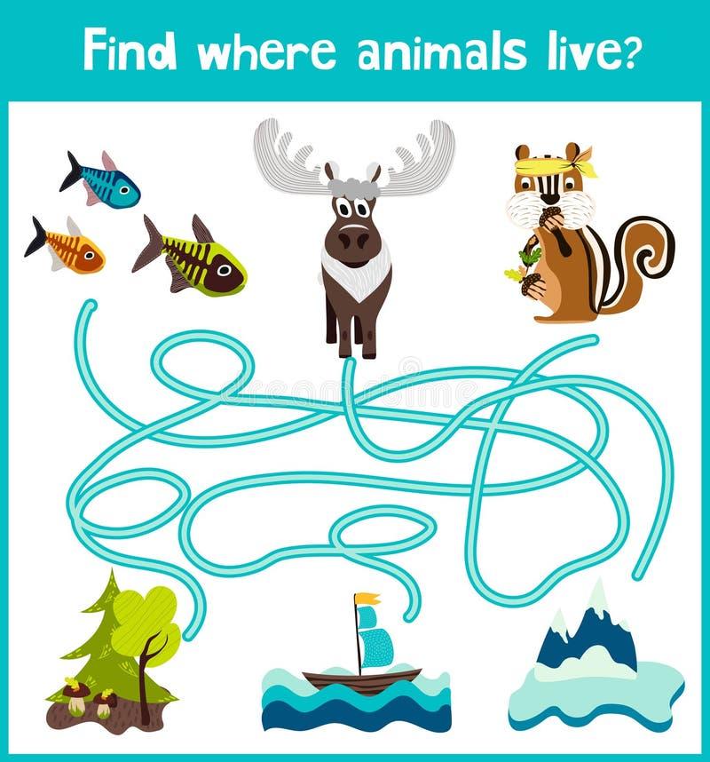 Потеха и красочная игра головоломки для развития детей находят где олени, striped Сибирский бурундук и рыба Лабиринты тренировки  бесплатная иллюстрация