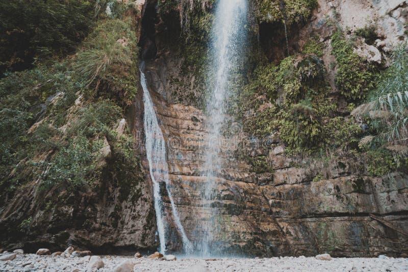 2 потока феи водопадов горы в израильском национальном парке r Свежесть  стоковое изображение rf