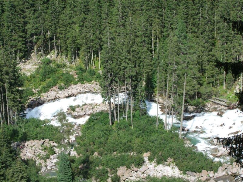 Поток большого водопада одичалый в горах Австрии Европы стоковое изображение