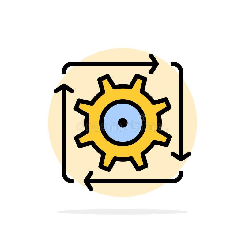 Поток операций, автоматизация, развитие, подача, значок цвета предпосылки круга конспекта деятельности плоский иллюстрация вектора