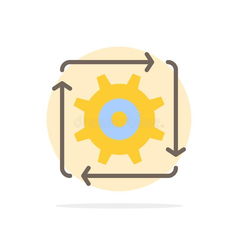 Поток операций, автоматизация, развитие, подача, значок цвета предпосылки круга конспекта деятельности плоский бесплатная иллюстрация