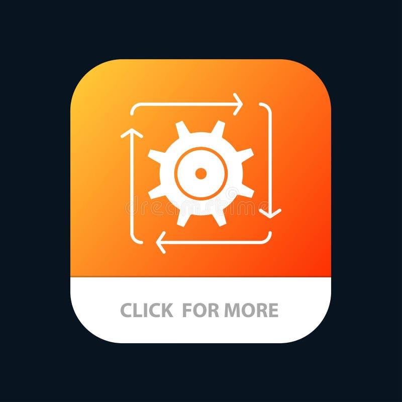 Поток операций, автоматизация, развитие, подача, кнопка приложения деятельности мобильная Андроид и глиф IOS версия иллюстрация штока