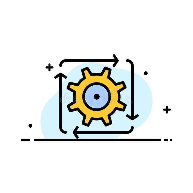 Поток операций, автоматизация, развитие, подача, линия дела деятельности плоская заполнил шаблон знамени вектора значка бесплатная иллюстрация