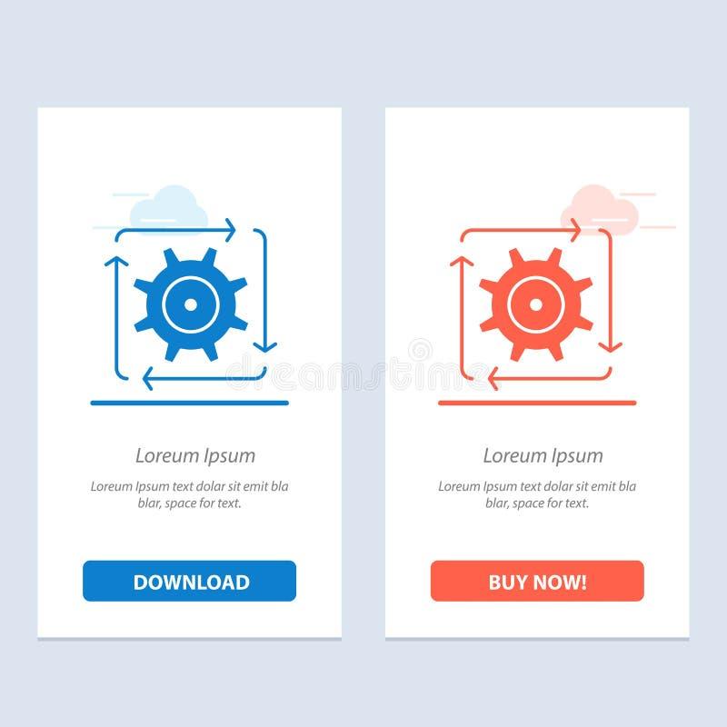 Поток операций, автоматизация, развитие, подача, синь деятельности и красная загрузка и купить теперь шаблон карты приспособления иллюстрация штока