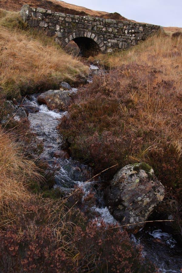 Поток пропуская под старым каменным мостом стоковые изображения rf