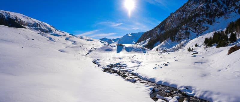 Поток снега Cerler в Пиренеи Уэски Испании стоковое изображение