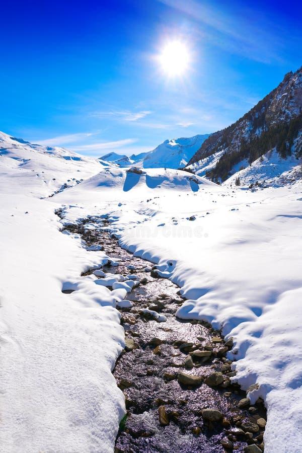 Поток снега Cerler в Пиренеи Уэски Испании стоковые фотографии rf