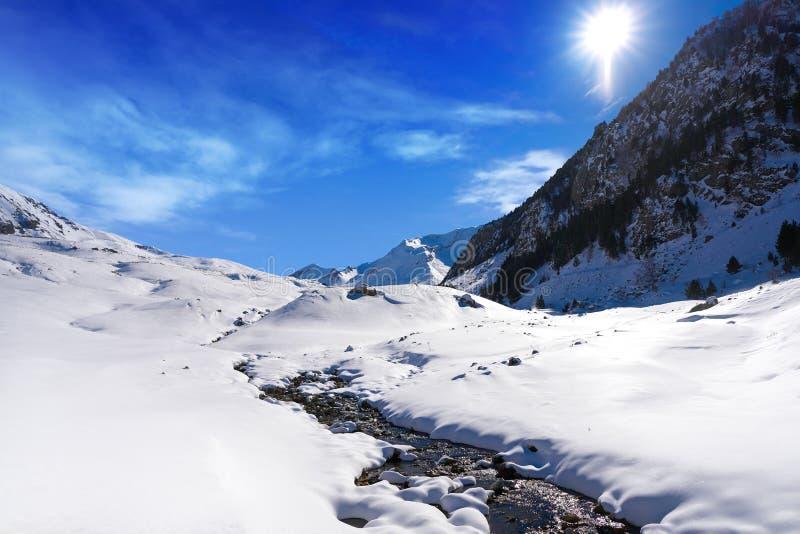 Поток снега Cerler в Пиренеи Уэски Испании стоковая фотография