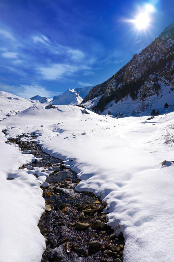 Поток снега Cerler в Пиренеи Уэски Испании стоковые фото