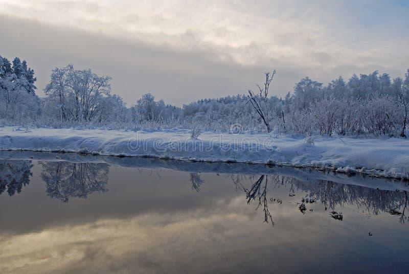 Поток Sinialliku в холодном зимнем дне, снежные деревья и облачное небо отражают в воде стоковое изображение rf