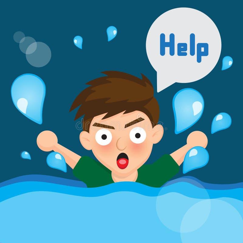 Потопленный мальчик шаржа бесплатная иллюстрация