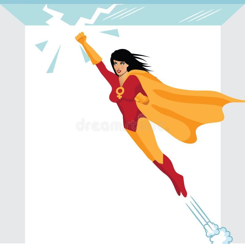 Потолок феминист superwoman ломая стеклянный иллюстрация вектора