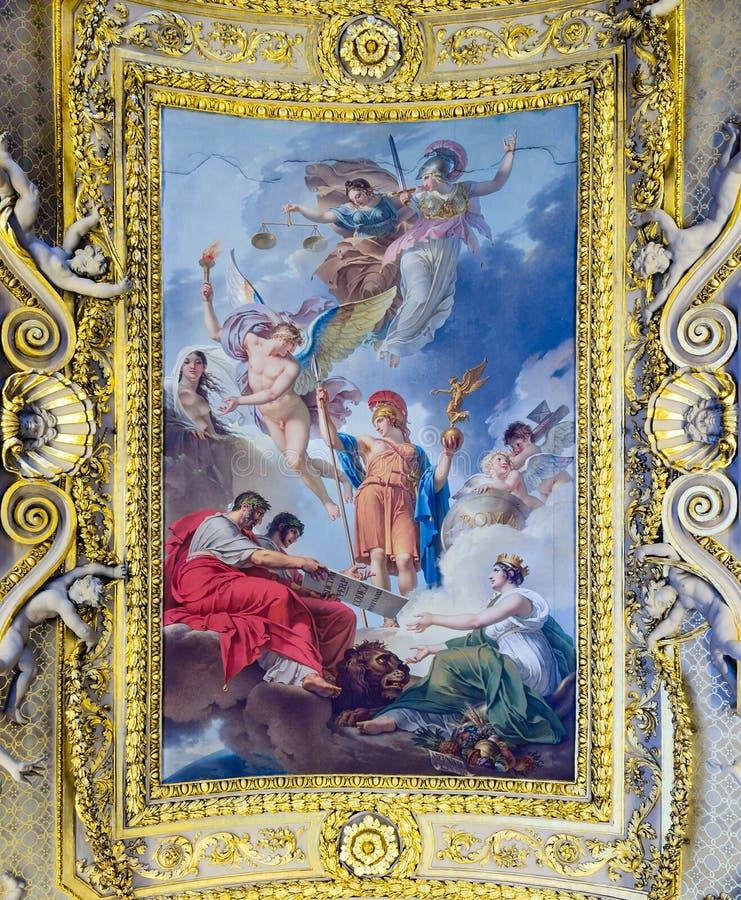 Потолочная фреска на Лувре стоковые фотографии rf