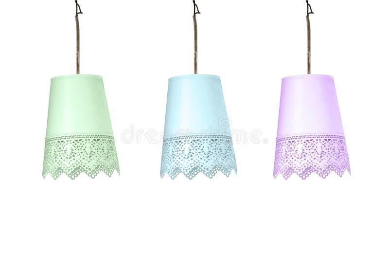 Потолочное освещение 3 цветов винтажное на белой предпосылке стоковые изображения rf