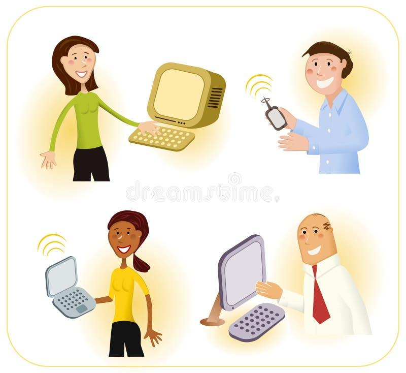 потребители техника компьютера сообразительные бесплатная иллюстрация