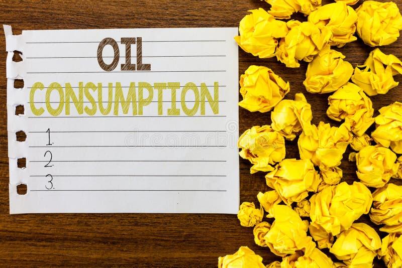 Потребление нефти текста почерка Концепция знача этот вход полное масло уничтоженное в бочонках в день стоковое фото rf