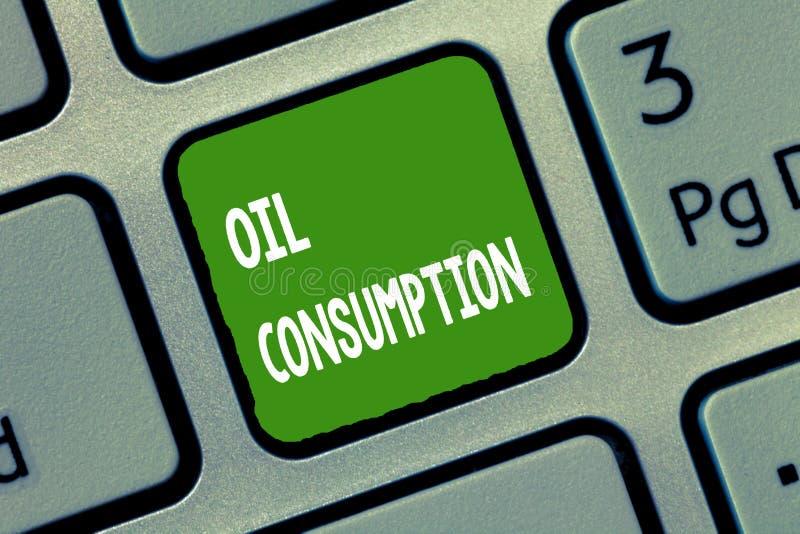 Потребление нефти текста почерка Концепция знача этот вход полное масло уничтоженное в бочонках в день стоковые фотографии rf